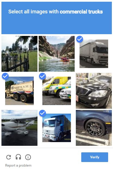 reCaptcha screen shot